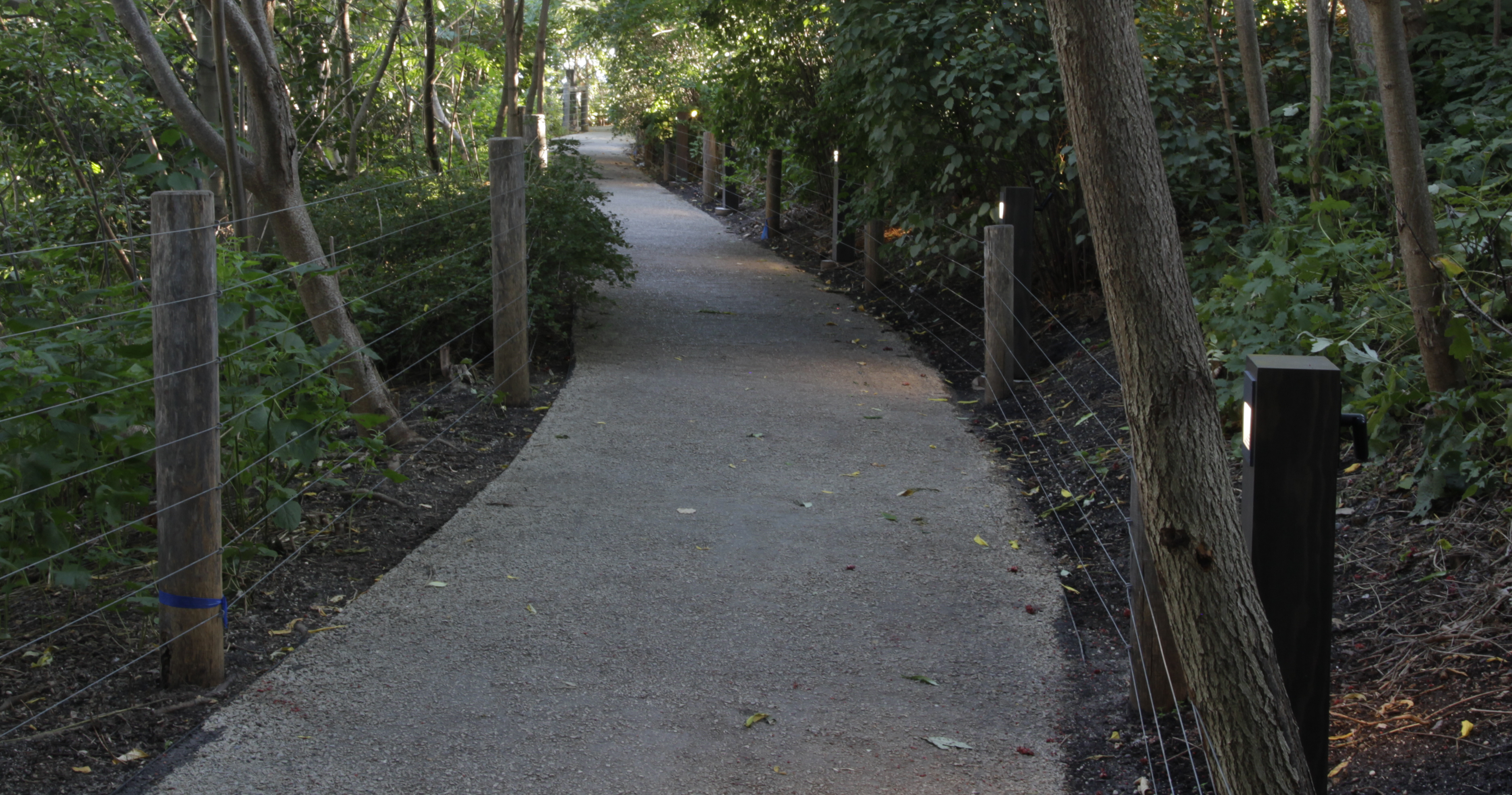 Custom bollards in public park pathway NYC